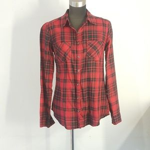 Maurices Black Red Plaid Button Up Blouse Small
